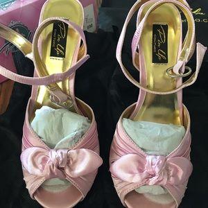 NIB Pink Satin Pin Up Couture high heels